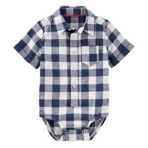 3/$25 OshKosh Checkered Button Down Bodysuit